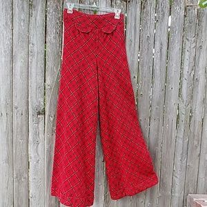 Red & Black Plaid Polyester Bell Bottom Pants 70s